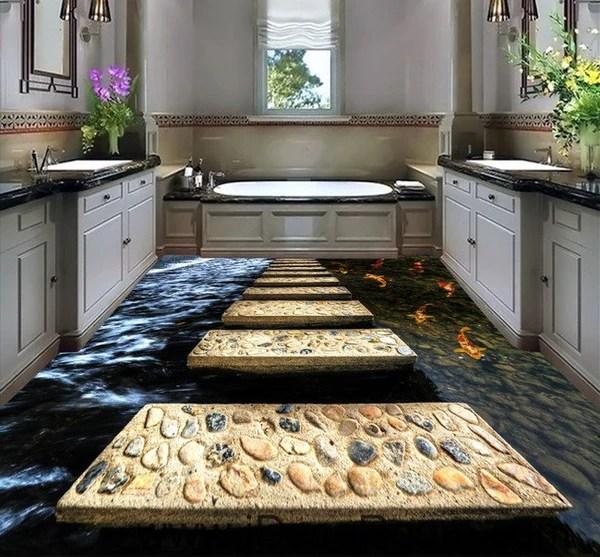 3d Floor Wallpaper Murals Stone Stage Fish In Water 00024 Floor Decals 3d Wallpaper
