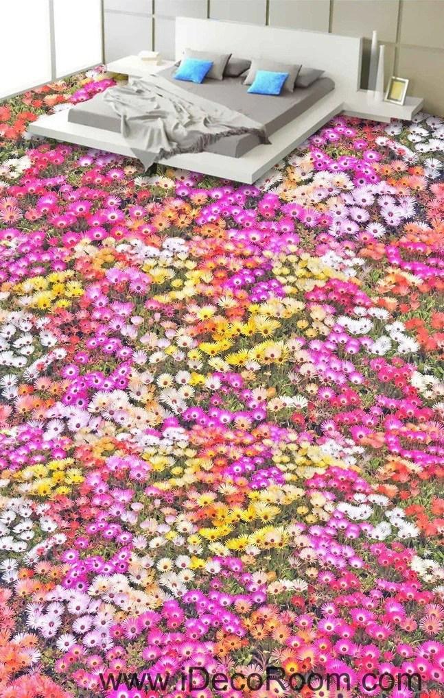 3d Floor Wallpaper Murals Pink Yellow White Daisy Flower 00027 Floor Decals 3d