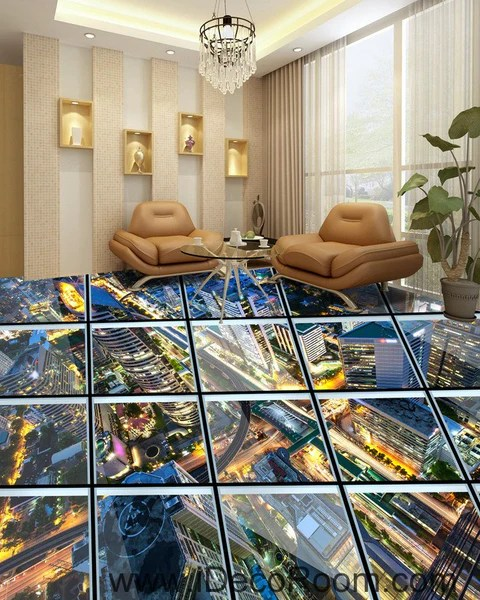 3d Wallpaper Murals Uk Glass Roof Effect City Night 00031 Floor Decals 3d