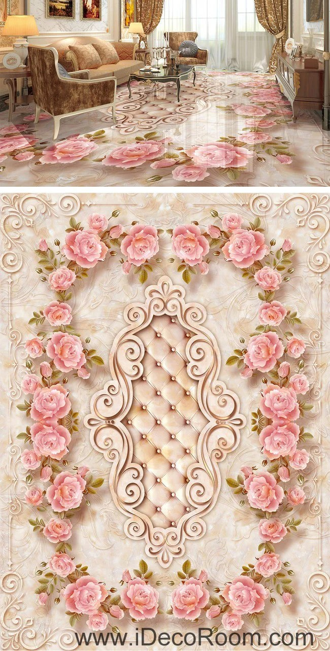 3d Wallpaper For Living Room Wall Large Rose Leaves Edge Pattern 00066 Floor Decals 3d