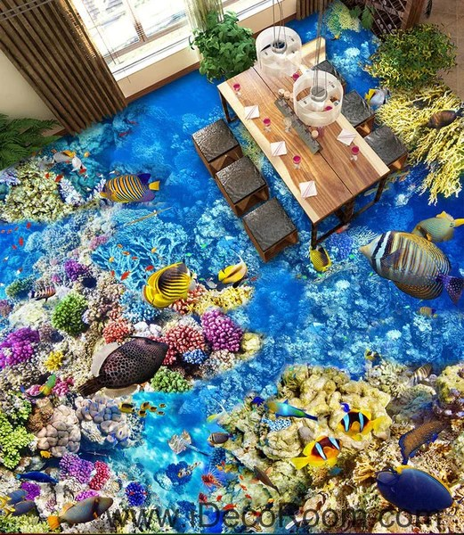 3d Floor Wallpaper Murals Anemone Fish Colorful Coral Seabed Seafloor 00067 Floor