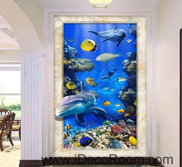 Free 3d Dolphin Wallpaper Dophin Chasing Coral Fish Ocean 00074 Floor Decals 3d