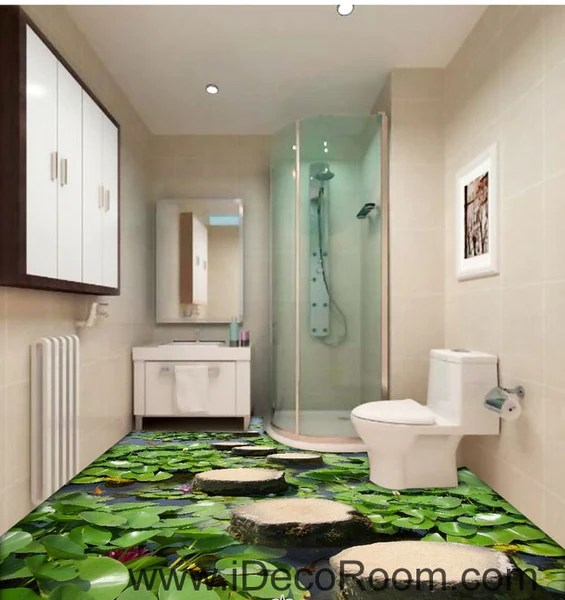 3d Wallpaper For Interior Decoration Lilypad Pond Stone Stage Fish 00097 Floor Decals 3d