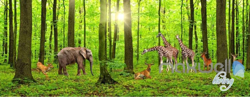 Wallpaper Hd For Living Room 3d Forest Animals Entire Room Wallpaper Wall Murals Art