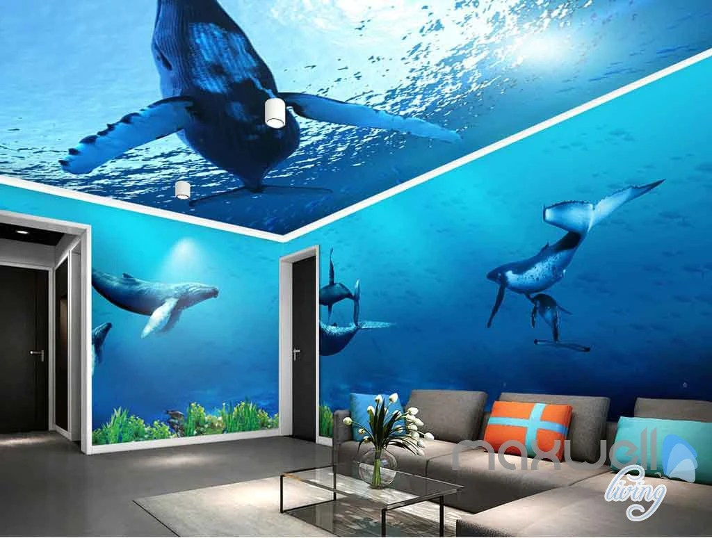 Wallpaper Murals For Bathrooms 3d Whale Underwater Entire Living Room Bathroom Wallpaper Wall Murals Art Idcqw 000145