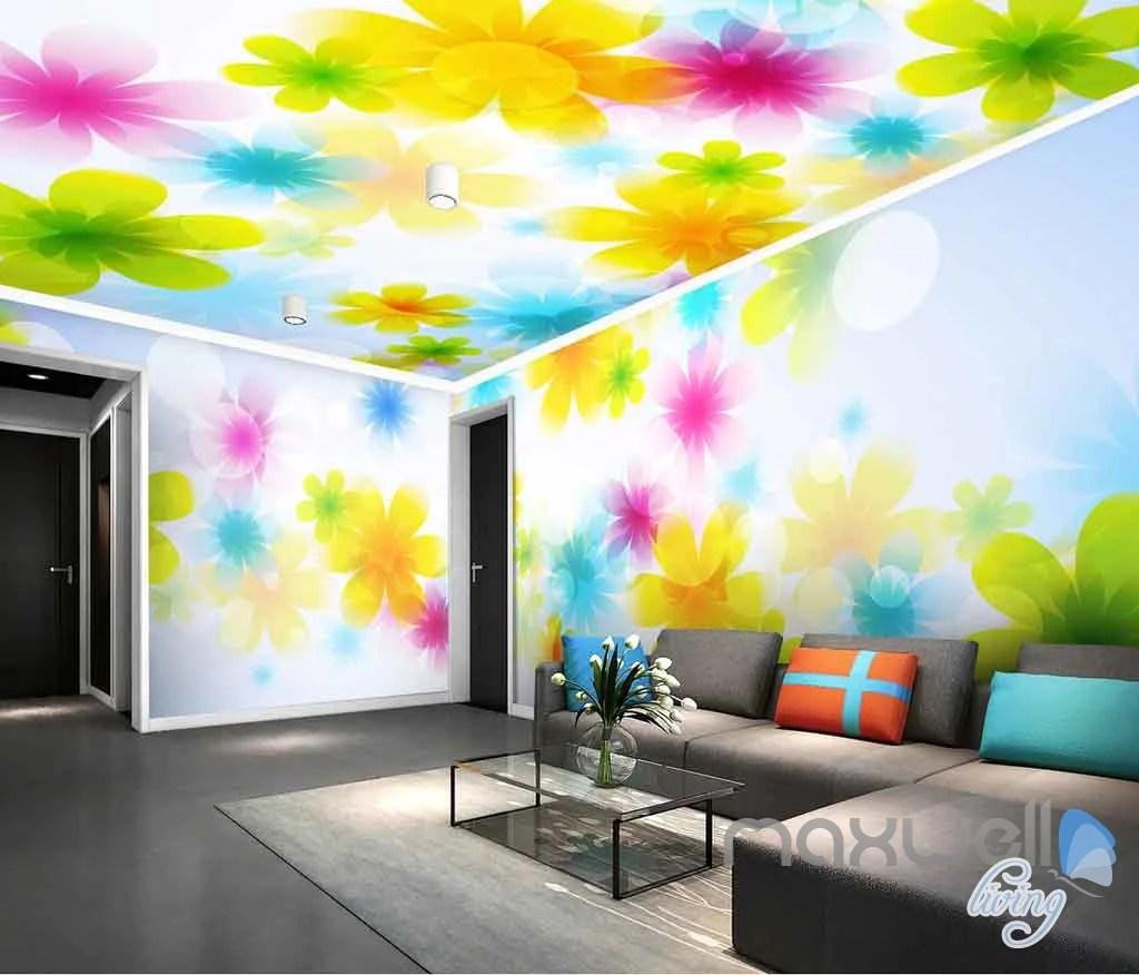 3d Floor Wallpaper Murals 3d Bright Watercolor Flowers Entire Living Room Bedroom