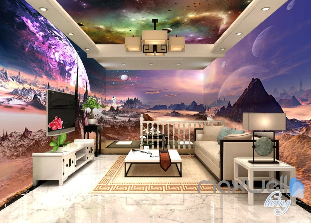 3d Floor Wallpaper Murals 3d Outerspace Universe Galaxy Entire Living Room Office