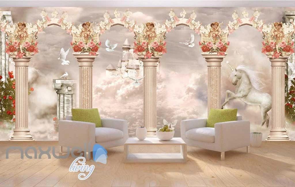 3D Little Angel Ceiling Pillar Wall Murals Wallpaper Decals Art Print – IDecoRoom