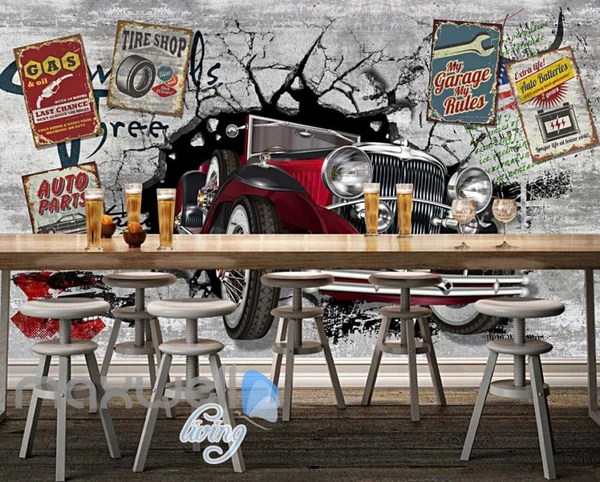 3d Wallpaper Murals Uk 3d Classic Car Vintage Garage Art Wall Murals Wallpaper