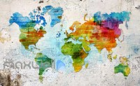 Graphic Art Design Colourful World Map Art Wall Murals ...