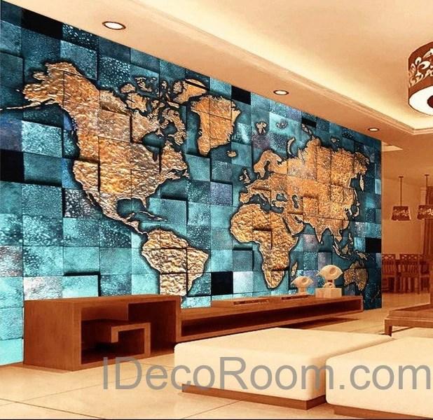 3D Blue Ocean Abstract World Map Wallpaper Wall Decals Wall Art Print – IDecoRoom