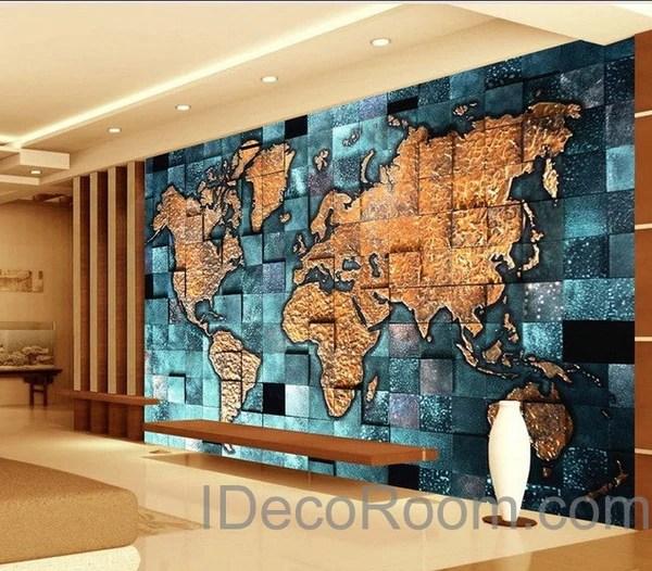 3d World Globe Wallpaper 3d Blue Ocean Abstract World Map Wallpaper Wall Decals