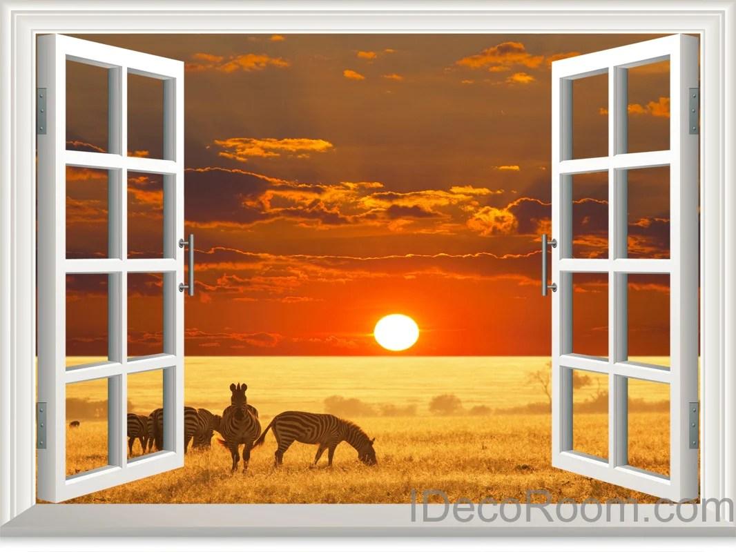 3d Floor Wallpaper Murals Zebra African Grassland Sunset Cloud 3d Window View