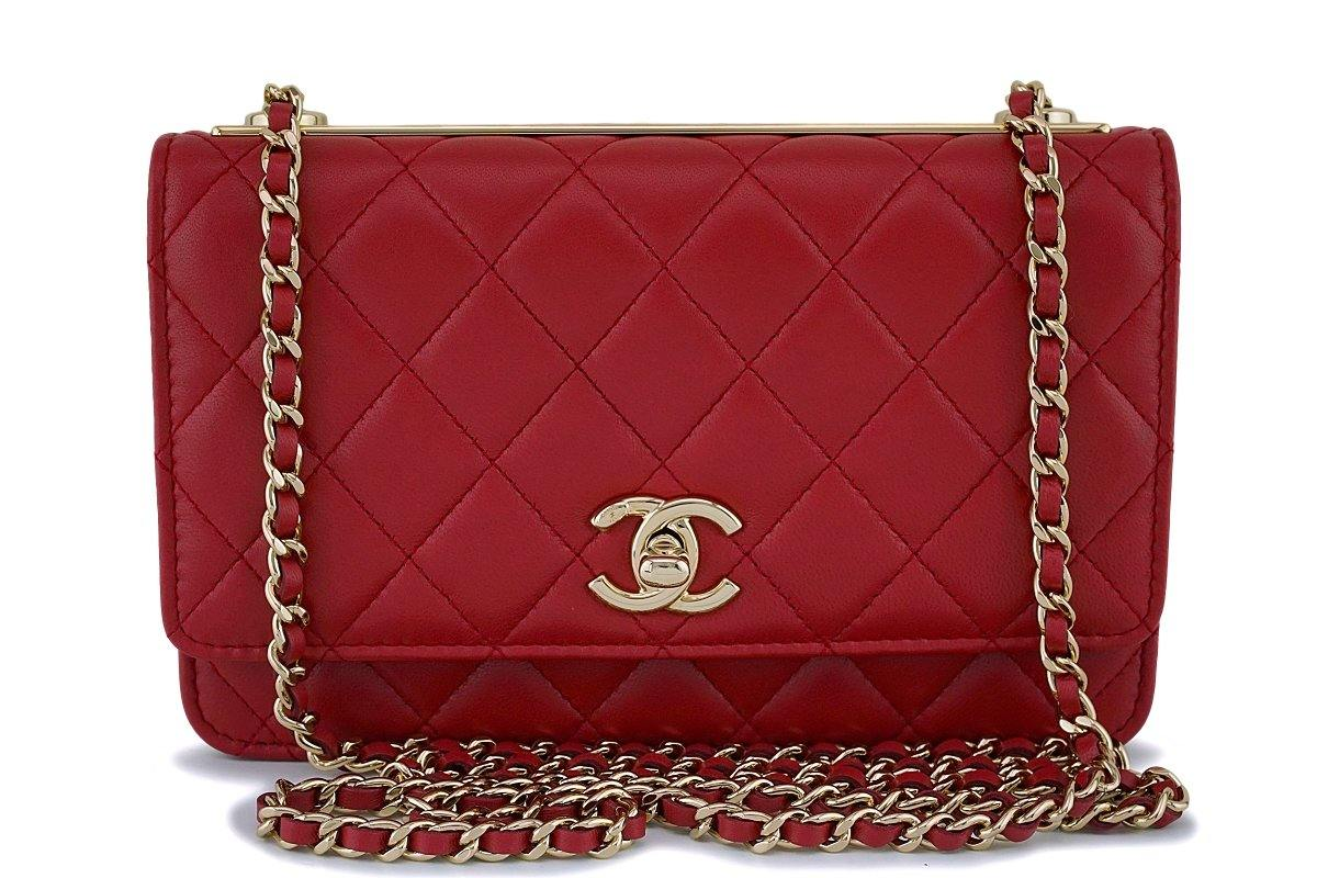 Mini Vs Woc Nib 18k Chanel Red Trendy Cc Wallet On Chain Woc Mini Flap Bag Ghw