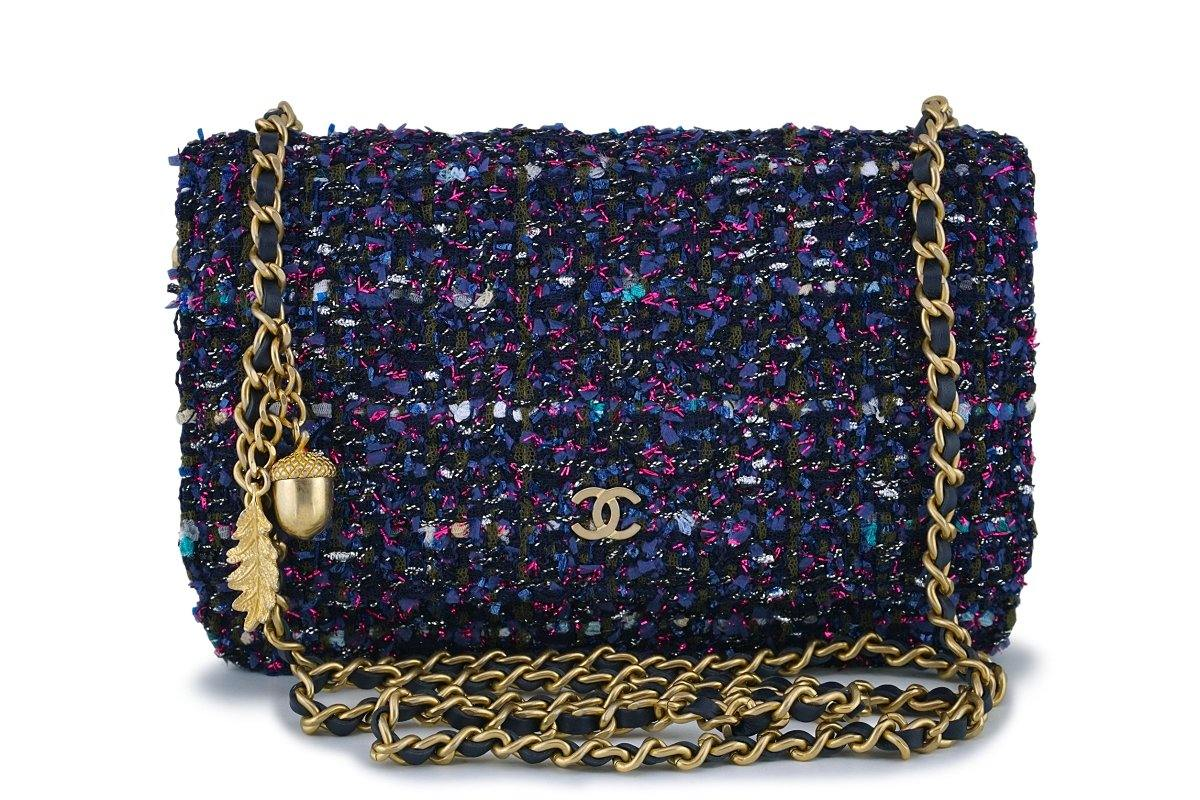 Mini Vs Woc Nib 18k Chanel Purple Tweed Wallet On Chain W Charms Woc Mini Flap Bag Ghw