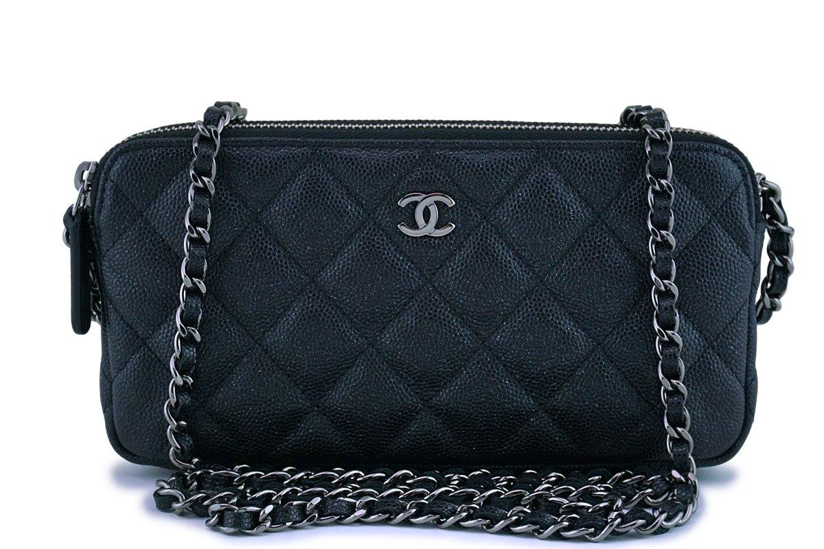 Mini Vs Woc New Chanel Iridescent Black Caviar Mini Zip Case Wallet On