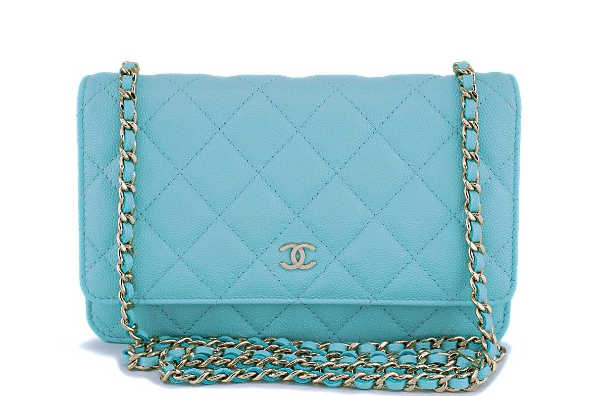 Mini Vs Woc Nib 19c Chanel Lt Turquoise Blue Caviar Classic Wallet On Chain Woc Mini Flap Bag Ghw