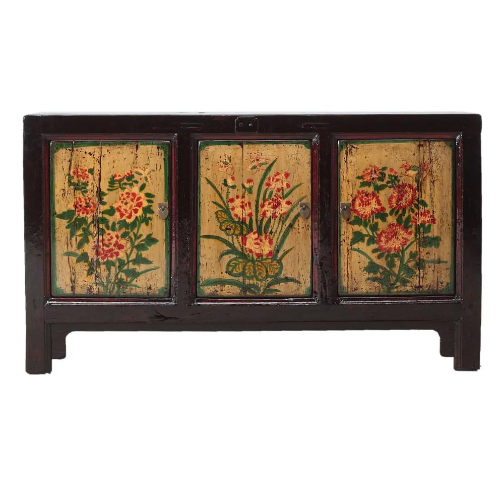 Vintage Kitchen Sideboard Vintage Cabinet From Gansu With Painted Floral Motifs