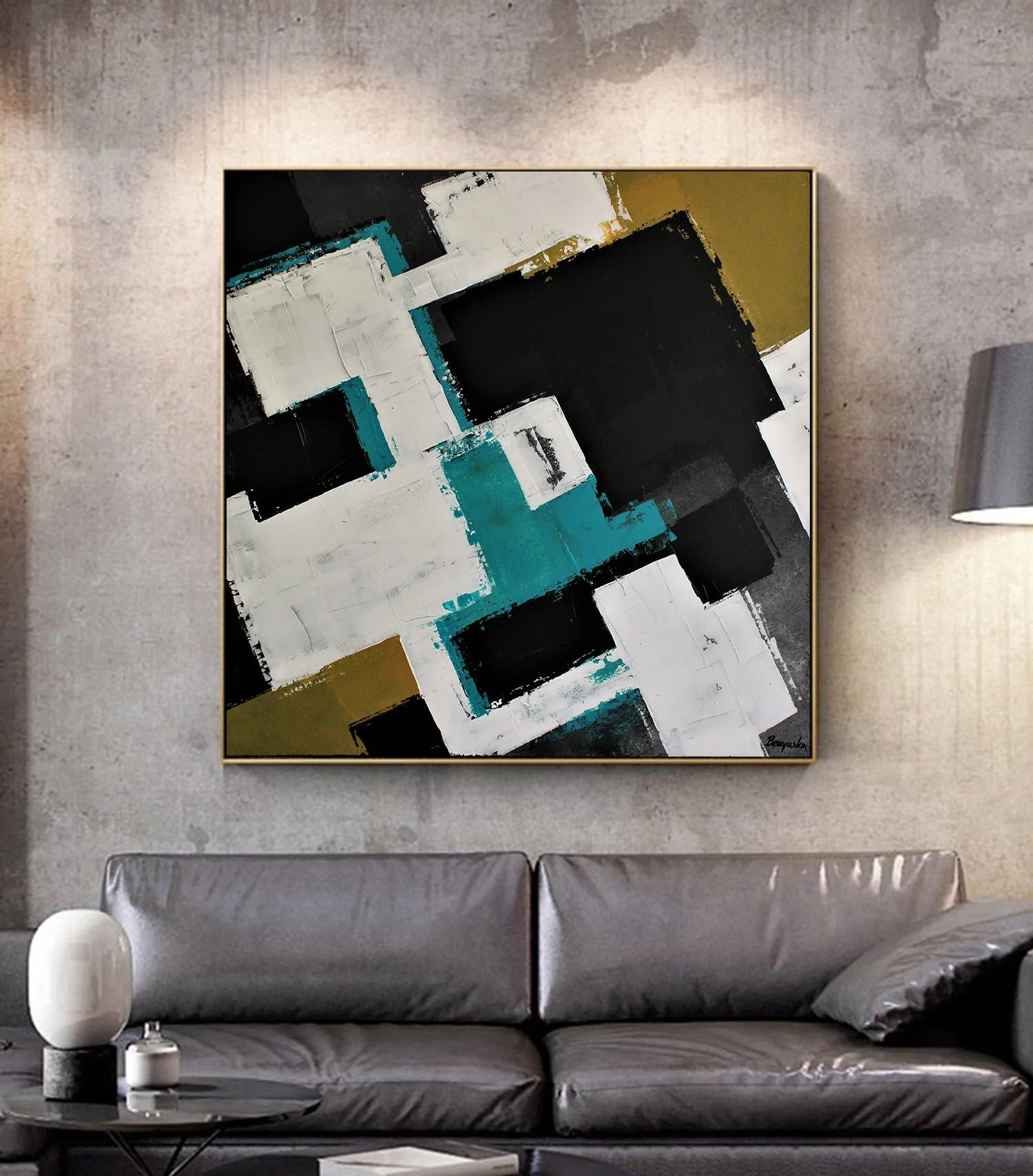 Turquoise Home Decor Large Canvas Wall Art Abstract Painting