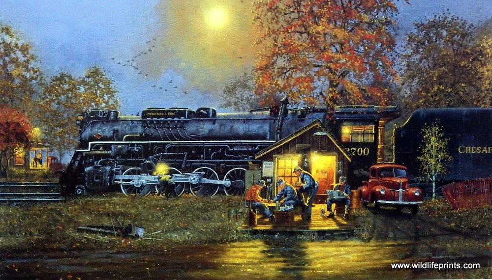 Playing In The Fall Wallpaper Artist Dave Barnhouse Unframed Steam Engine Train Print