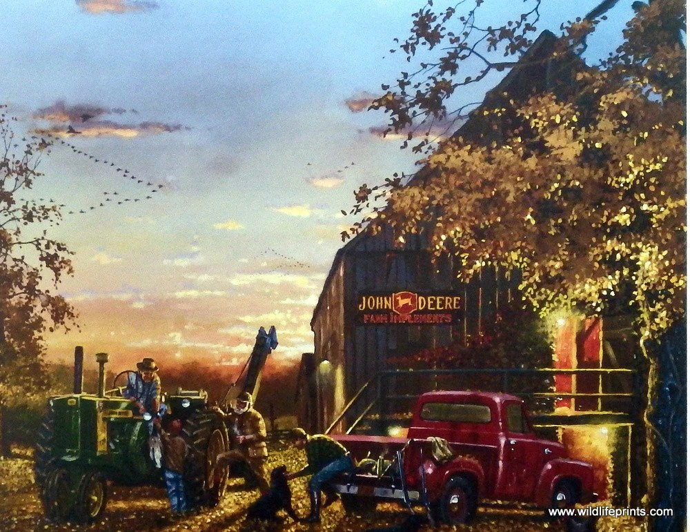 Fall Barn Wallpaper Artist Dave Barnhouse Unframed Tractor Art Print Twilight