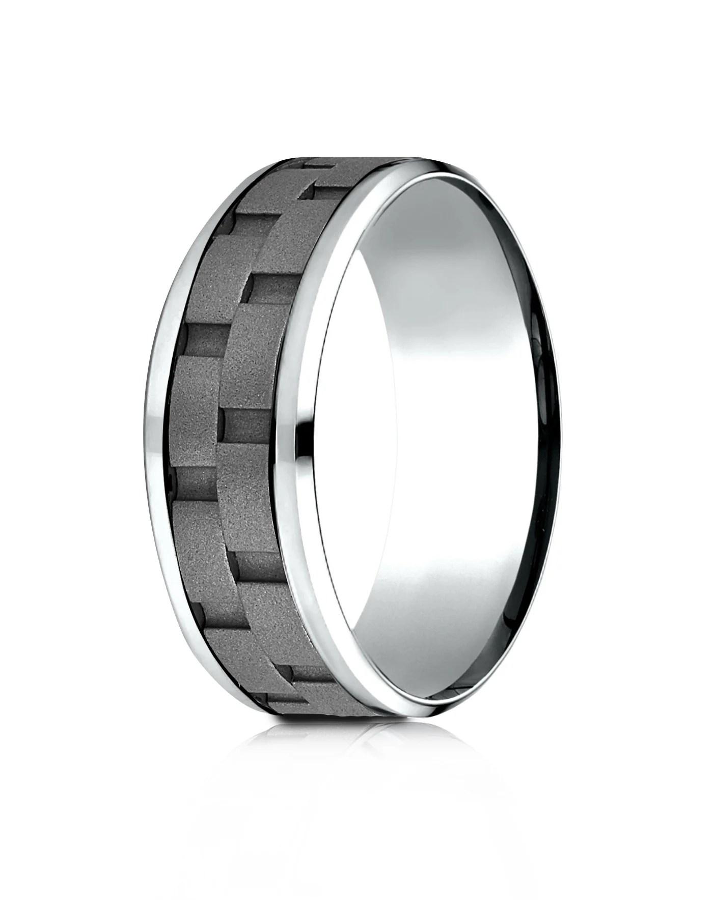 anacona cobalt sandblasted link pattern wedding band for men by benchmark cobalt wedding rings ANACONA Men s Cobalt Wedding Band Link Pattern by Benchmark