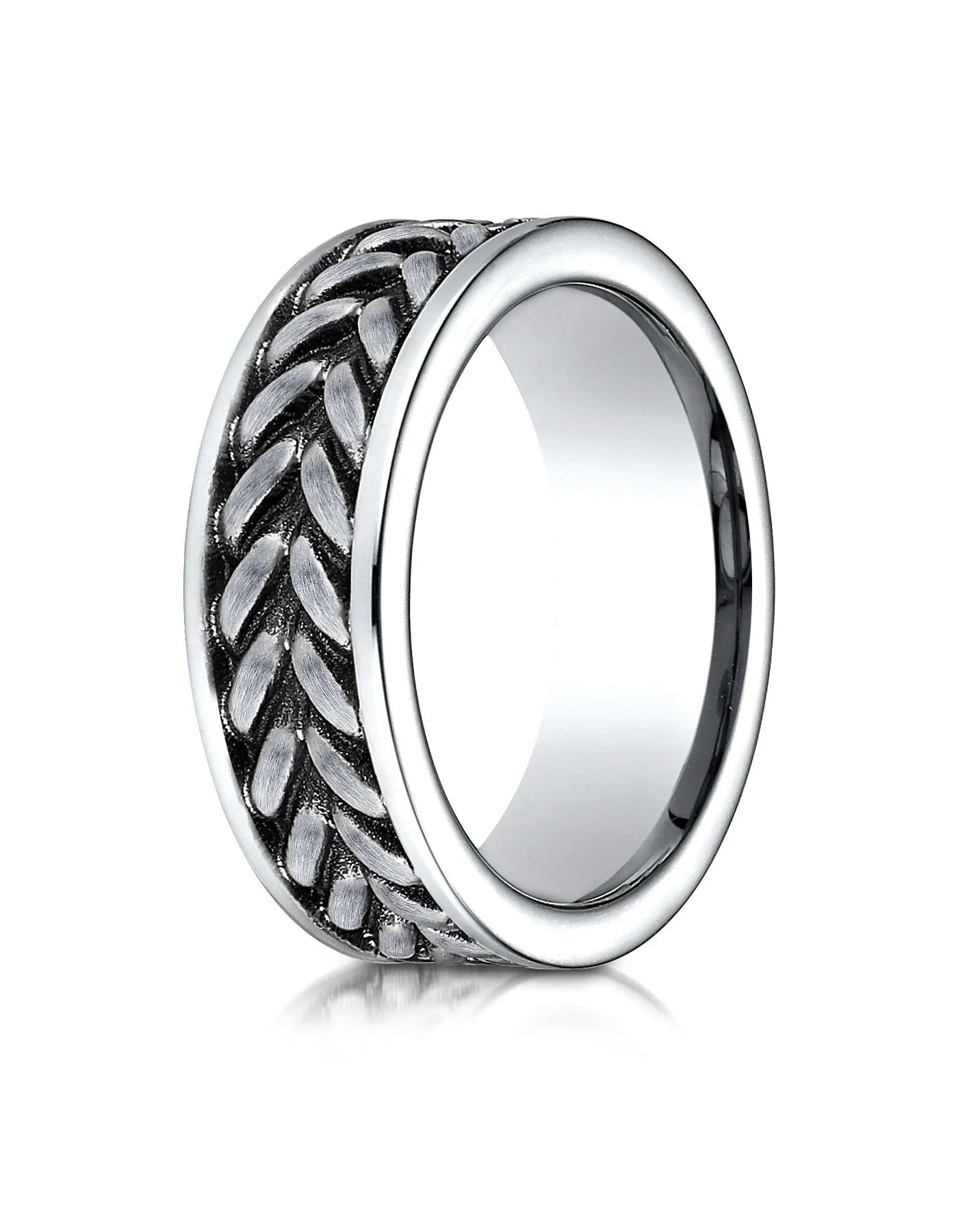 ferrara men s cobalt wedding band with zippered pattern center by benchmark cobalt wedding rings FERRARA Men s Cobalt Wedding Band with Zippered Pattern