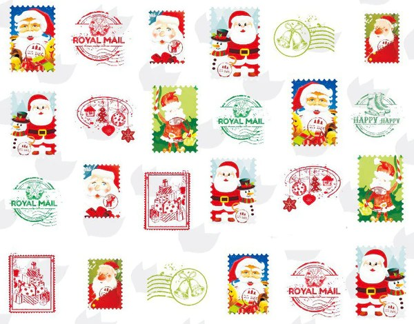 Christmas Nail Art Santa Claus Water Decals Transfers Wraps