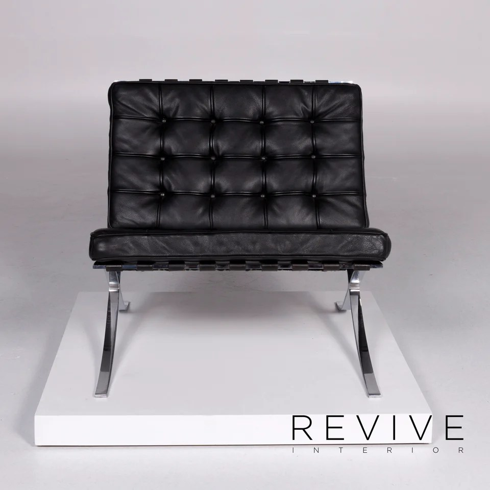 Knoll International Barcelona Chair Vintage Designer Leder Sessel Schwarz 10366 Revive Interior Gmbh