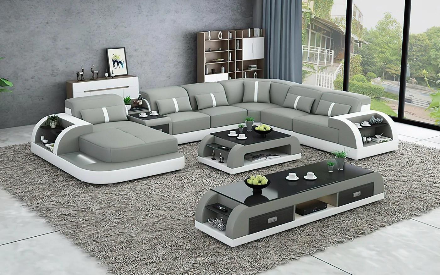 Modern Blaylock Leather Sectional Sofa U Shape Storage Jubilee Furniture Stores Las Vegas