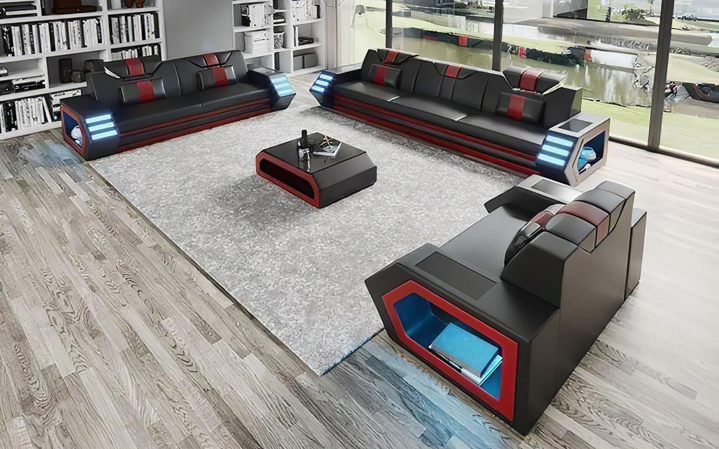 Modern Leather Sectional With Led Light Jubilee Furniture Stores Las Vegas