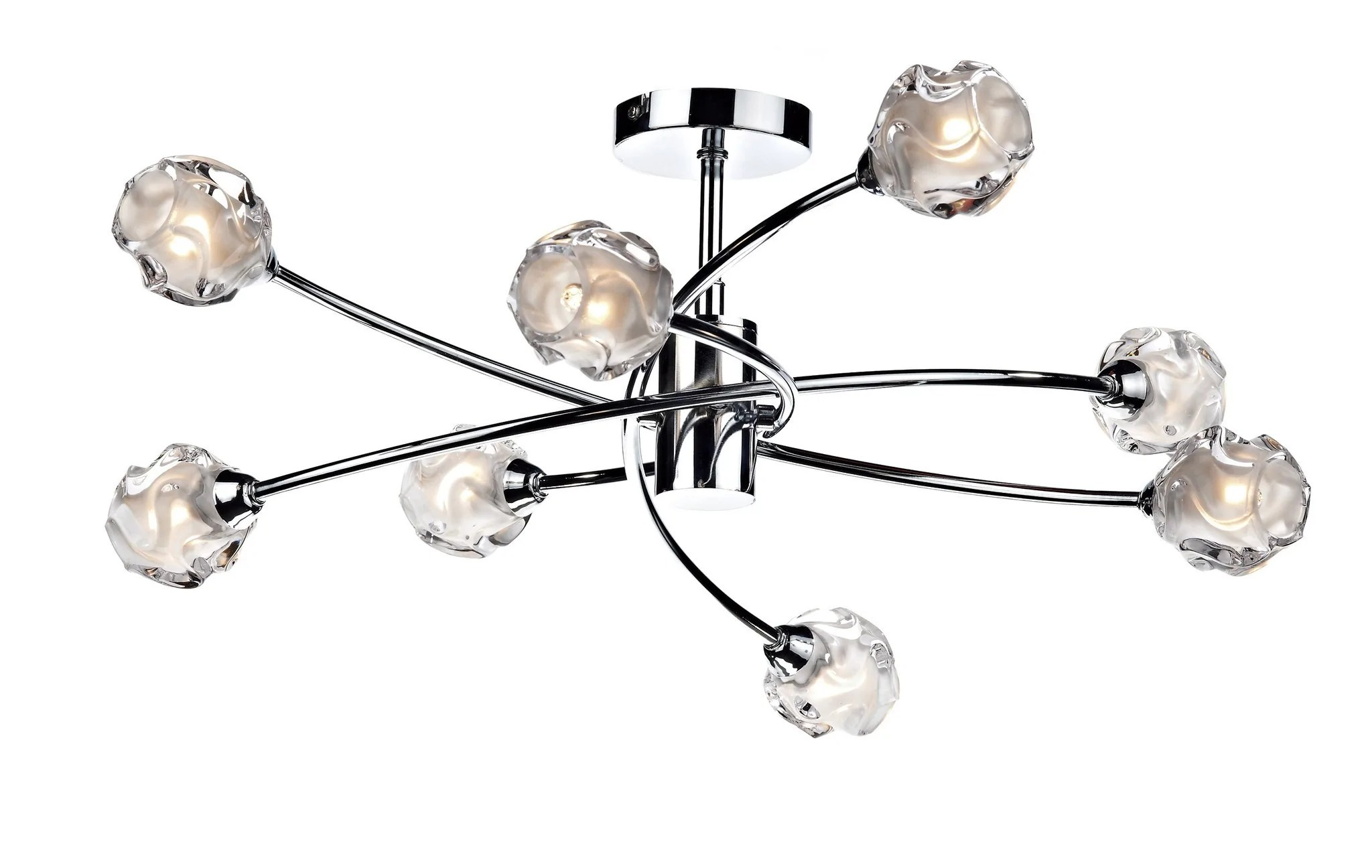 Glass Lamp Ceiling Abbey Wood Polished Chrome 8 Arm Ceiling Light Id 2469
