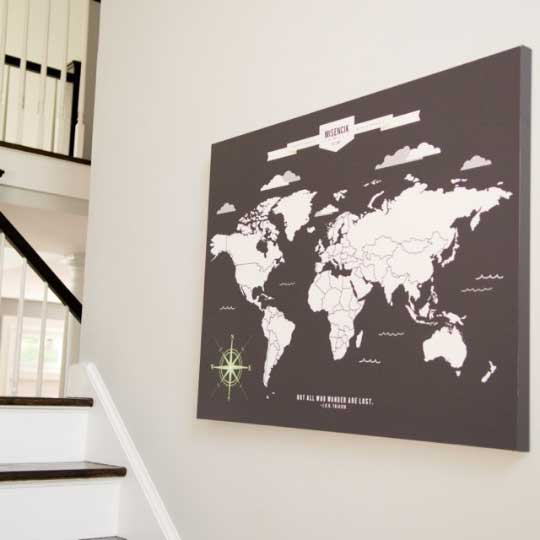 Personalized World Travel Map With Push Pins\u2013 76thandnewbury - pinnable world map