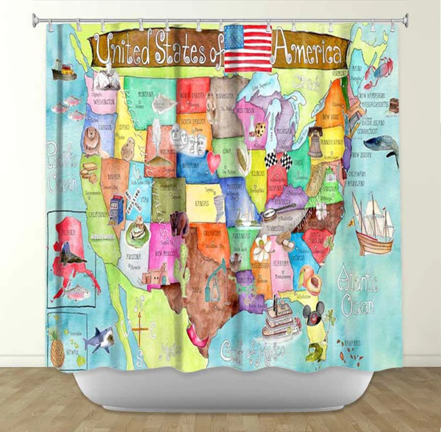 Usa Shower Curtain Dianoche Designs United States Of America Map By Marley Ungaro Fabric Shower Curtain