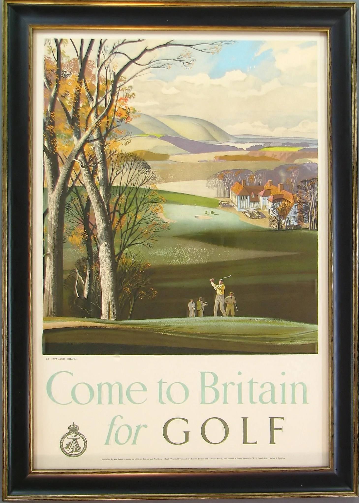 Bilder Vintage Come To Britain For Golf Vintage Travel Poster Circa 1952