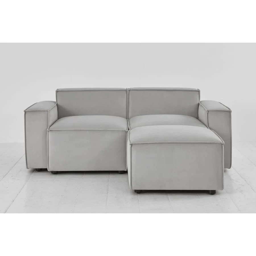 Sofas Model 03 Velvet Modular 2 Seater Right Chaise Light Grey Swyft Home The Sofa Lovers Limited
