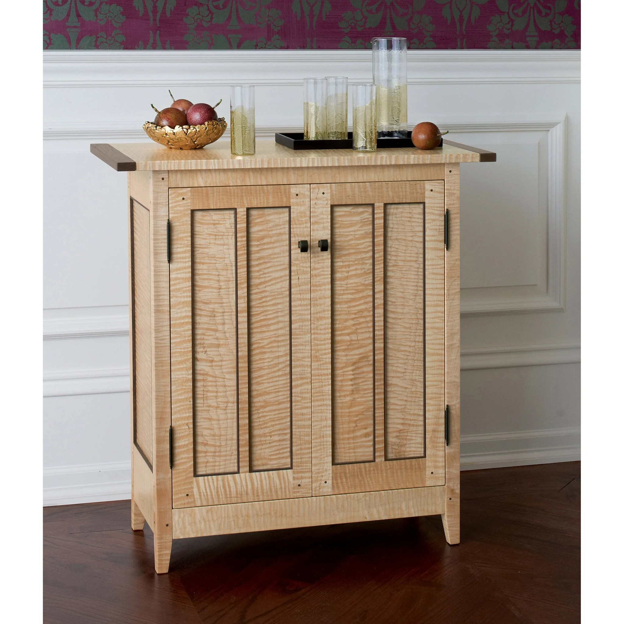 Thomas William Furniture Tiger Maple Side Cabinet Artistic Artisan Designer Side Cabinets Sweetheart Gallery Contemporary Craft Gallery Fine American Craft Art Design Handmade Home Personal Accessories