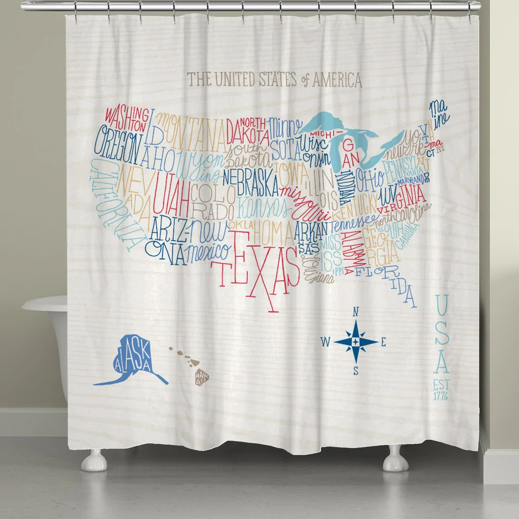 Usa Shower Curtain Hand Lettered Us Color Map Shower Curtain