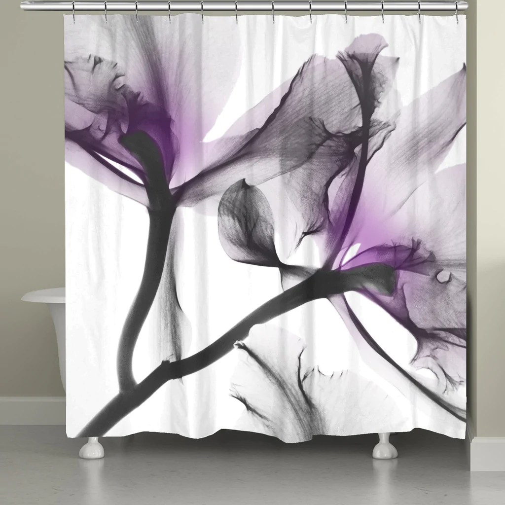 Lavender Shower Curtains Lavender Cyclamen X Ray Flowers Shower Curtain
