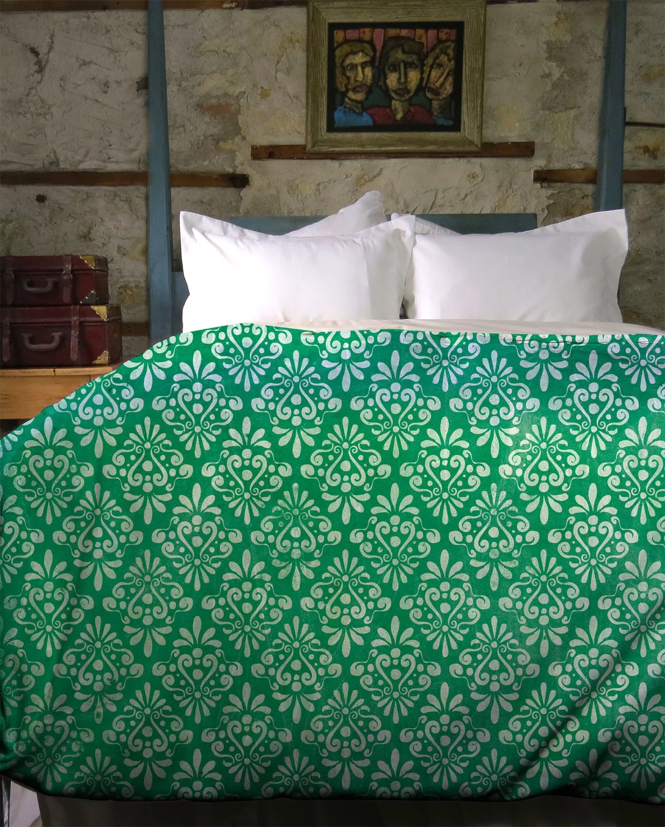 Damask Duvet Green Vintage Damask Duvet Cover