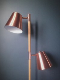 Contemporary Copper Double Headed Floor Lamp  Homeplace