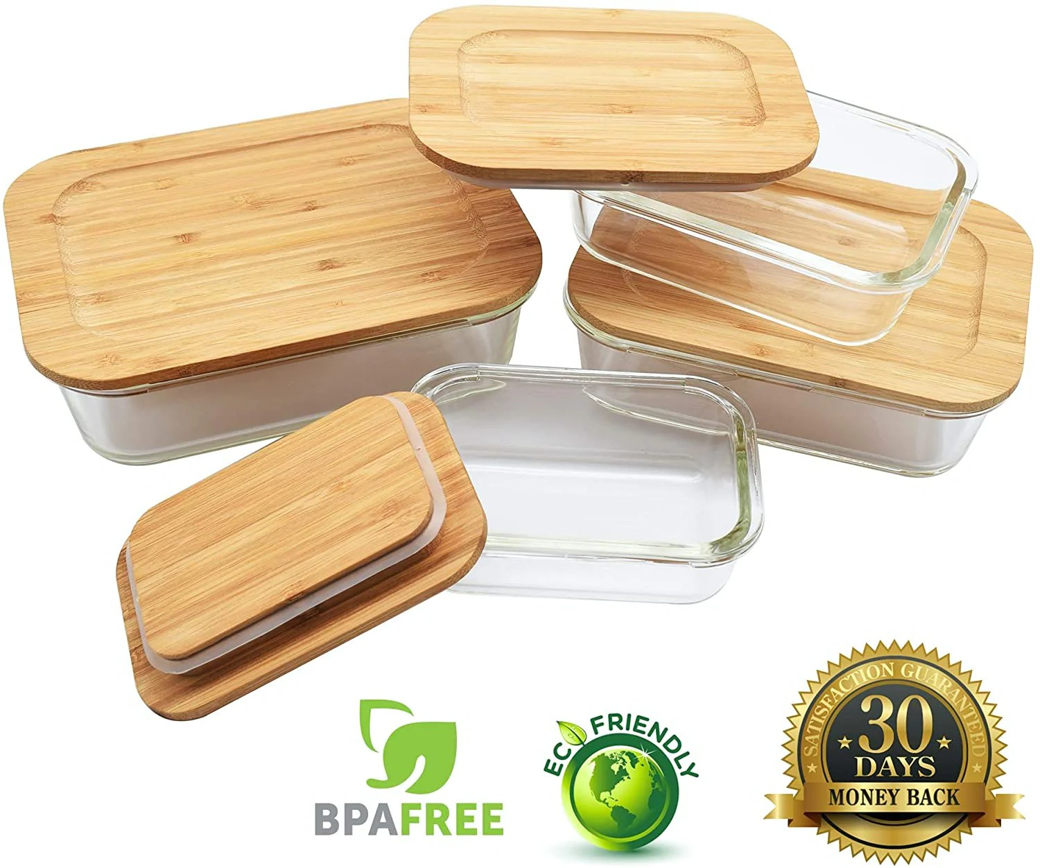 Glass Food Storage Containers With Bamboo Lids 4 Pc Set Vedessi