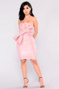 Rose Petals Tube Bow Dress - Pink