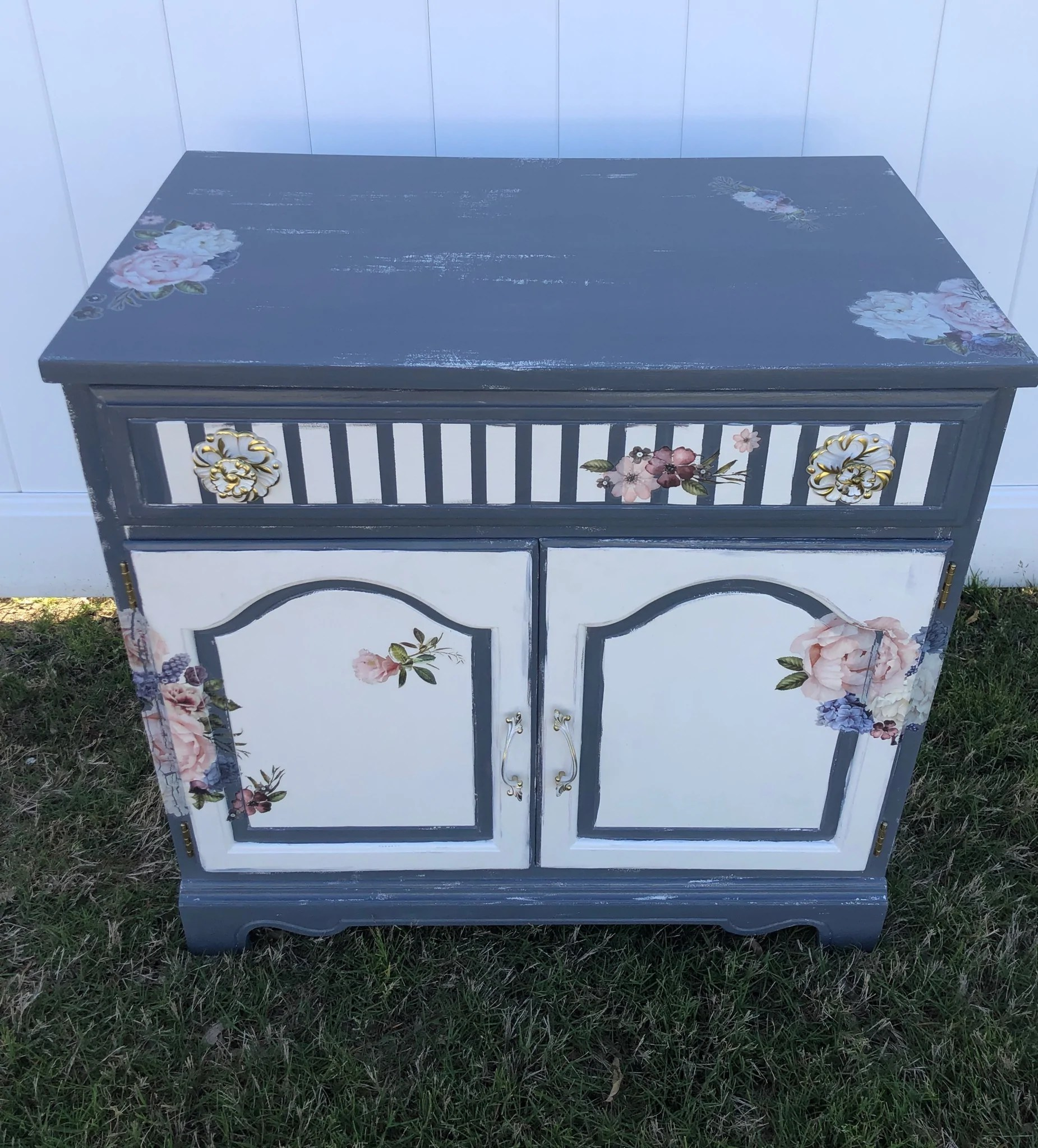Blue Grey White Floral Cabinet Funky Junk