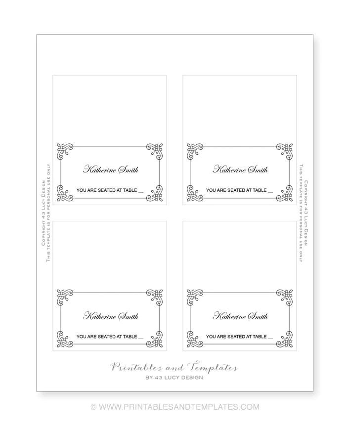 avery place card template - place card template