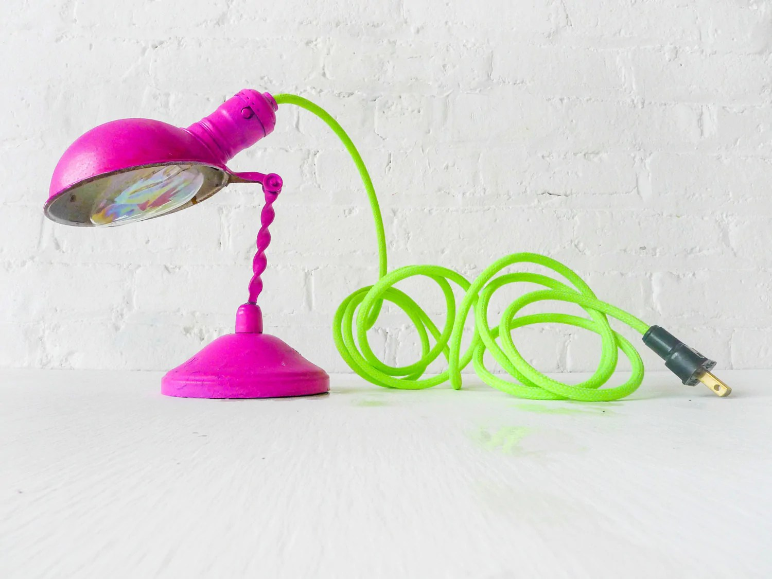 Bright Colored Table Lamps Vintage Hot Pink Lamp With Neon Green Yellow Cord