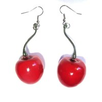 Plastic Cherry Sassy Drop Earrings  Dolly Loves PolkaDot