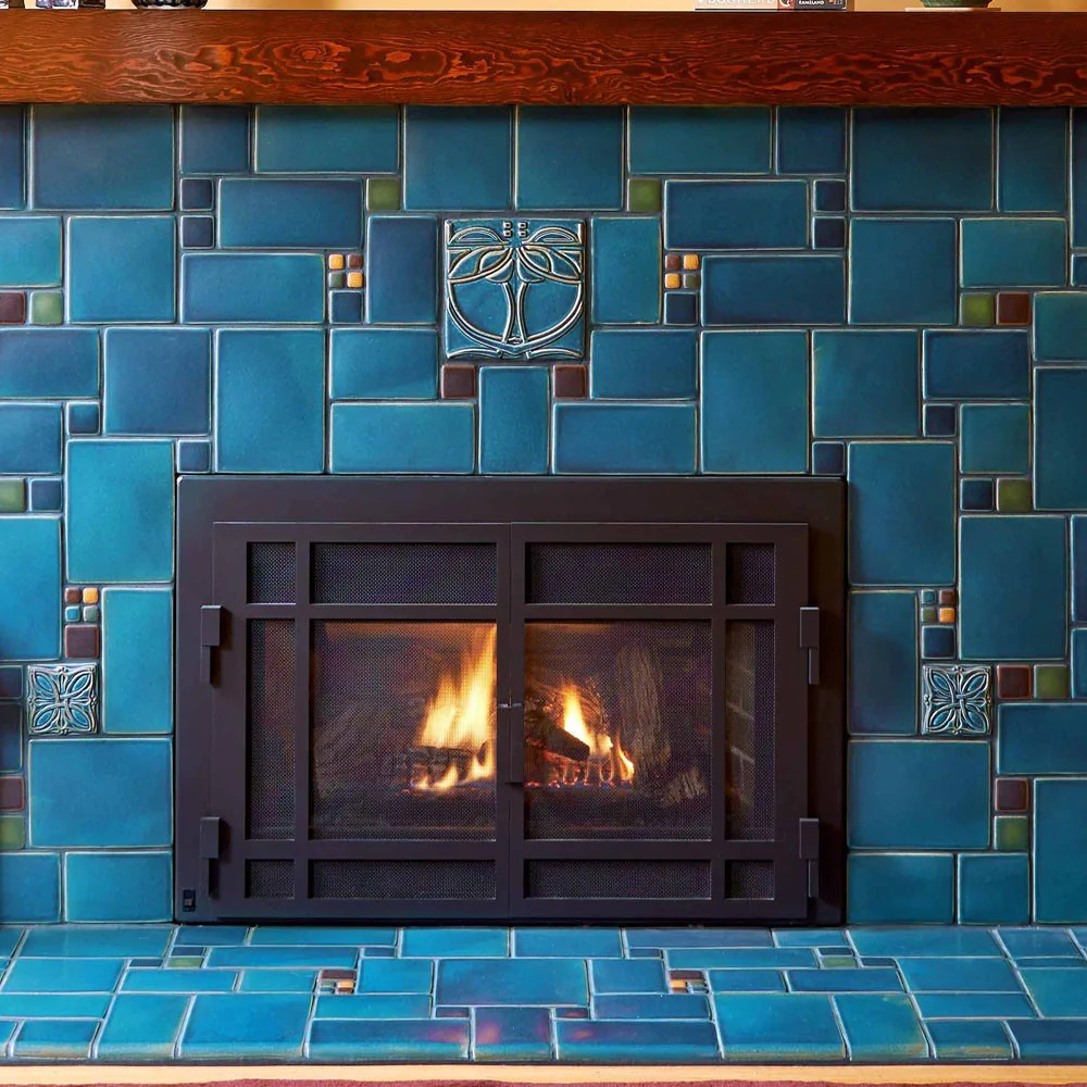 Blue Fireplace Blue Collage Fireplace | Motawi Tileworks