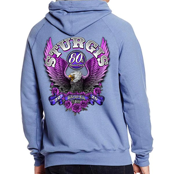 Pullover Hoodie From Pink Ladies 2020 Sturgis Motorcycle Rally Pink Eagle Pullover