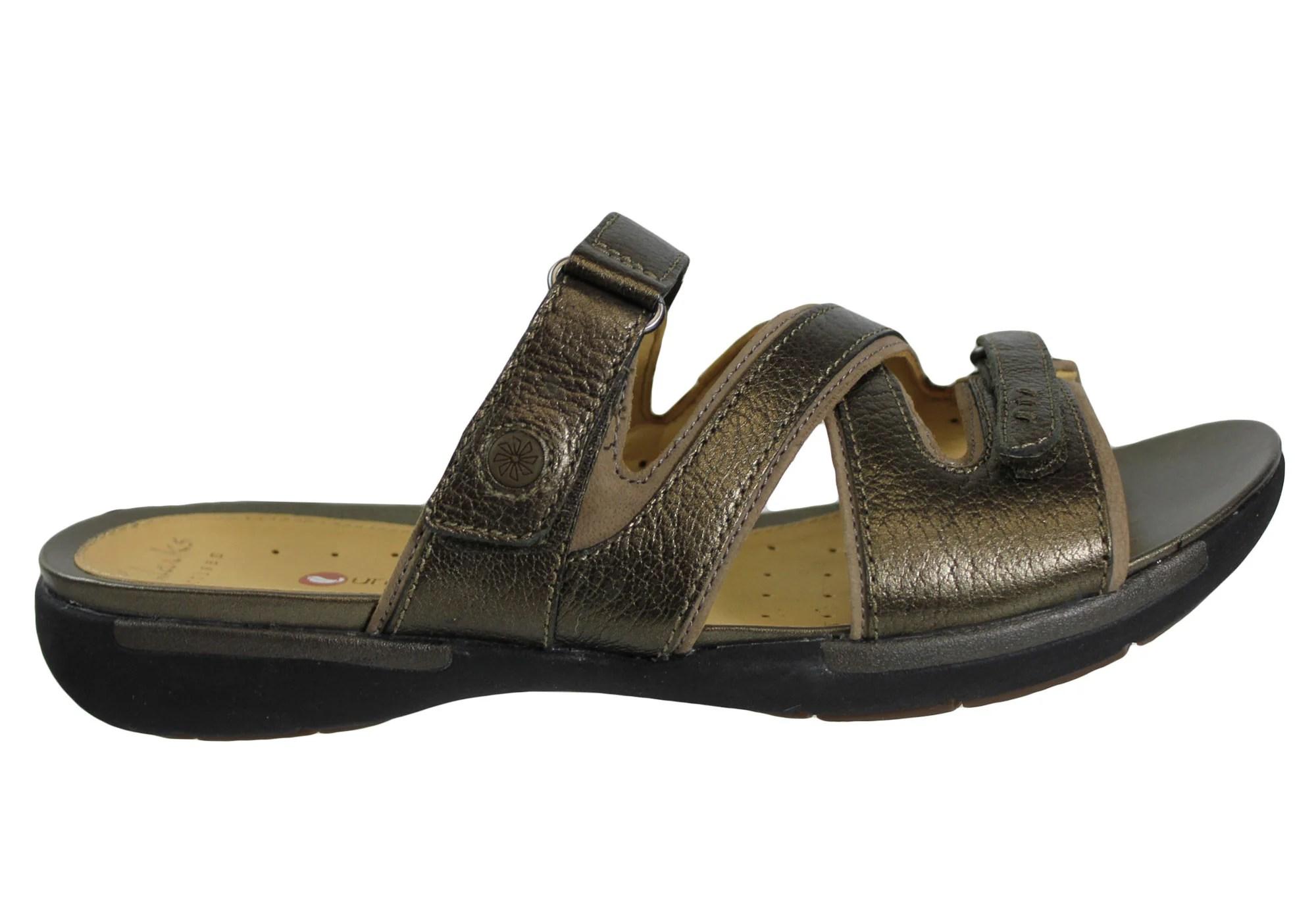 Clarks Un Verlee Womens Leather Slides Sandals Brand
